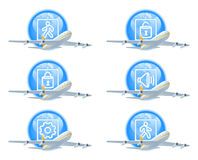 Flight status icon set Royalty Free Stock Photo