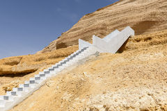 Flight of steps in the canyon of Wadi Ash Shuwaymiyyah (Oman) royalty free stock images