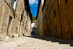 Flight of steps of Gubbio - Perugia Stock Photo