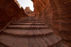 Flight of steps in Petra. Flight of steps to achieve the treasury view from above inside the ancient city of Petra, Jordan Stock Photo