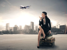 Flight stewardess Royalty Free Stock Photo