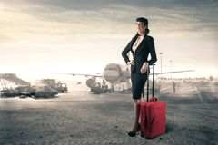 Flight stewardess Stock Photo
