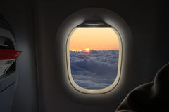 In flight sunrise Stock Photo