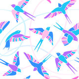 Flight of Swallows - mosaic pattern. Colorful mosaic seamless pattern with flying birds vector illustration
