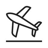 Flight Takeoff. Plane, takeoff, flight icon vector image. Can also be used for airport. Suitable for mobile apps, web apps and print media Royalty Free Stock Photos