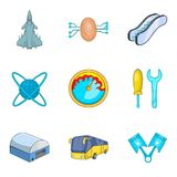Flight technology icons set, cartoon style. Flight technology icons set. Cartoon set of 9 flight technology vector icons for web isolated on white background Royalty Free Stock Photos