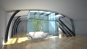 Flight throught modern interior with garden