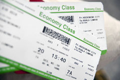 Flight Ticket. Economy Class Vietnam to Kuala Lumpur Flight Ticket Stock Photography