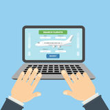 Flight ticket search. Stock Image