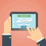 Flight ticket search. Royalty Free Stock Photography