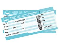 Flight tickets. Two blue boarding passes. Illustration for vacation departure. Royalty Free Stock Photo