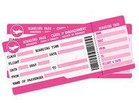 Flight tickets. Two pink boarding passes. Illustration for vacation departure. Royalty Free Stock Photos