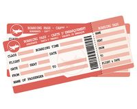 Flight tickets. Two red  boarding passes. Illustration for vacation departure. Stock Photo