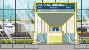 Flight to Bristol on airport departure board. Trip to the United Kingdom loopable cartoon animation