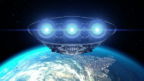 Alien spaceship approaching Earth. Bright engines flashing, 3d animation. Texture of Earth was created in graphic editor