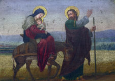 Flight to Egypt. Fresco painting in the church royalty free stock image