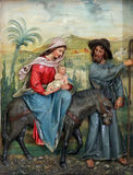 Flight to Egypt. Relief on church altar Stock Photo