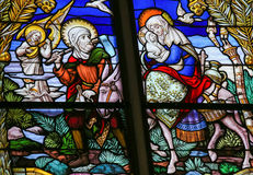 Flight to Egypt - Stained Glass Royalty Free Stock Images