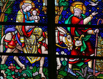 Flight to Egypt - Stained Glass Royalty Free Stock Image