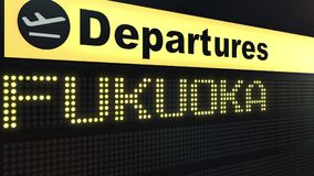 Flight to Fukuoka on international airport departures board. Travelling to Japan conceptual 3D rendering. Flight to Fukuoka on international airport departures Stock Image