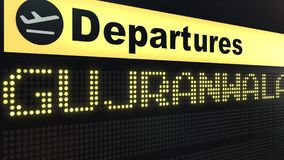 Flight to Gujranwala on international airport departures board. Travelling to Pakistan conceptual 3D rendering. Flight to Gujranwala on international airport Stock Images