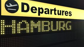 Flight to Hamburg on international airport departures board. Travelling to Germany conceptual 3D rendering. Flight to Hamburg on international airport departures Royalty Free Stock Photography