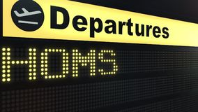 Flight to Homs on international airport departures board. Travelling to Syria conceptual 3D rendering. Flight to Homs on international airport departures board Royalty Free Stock Images