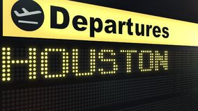Flight to Houston on international airport departures board. Travelling to the United States conceptual 3D rendering. Flight to Houston on international airport Royalty Free Stock Image