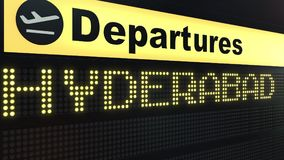 Flight to Hyderabad on international airport departures board. Travelling to Pakistan conceptual 3D rendering. Flight to Hyderabad on international airport Royalty Free Stock Photos