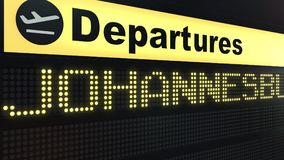 Flight to Johannesburg on international airport departures board. Travelling to South Africa conceptual 3D rendering. Flight to Johannesburg on international Stock Image
