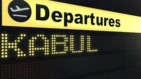 Flight to Kabul on international airport departures board. Travelling to Afghanistan conceptual 3D rendering. Flight to Kabul on international airport departures Royalty Free Stock Image