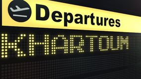 Flight to Khartoum on international airport departures board. Travelling to Sudan conceptual 3D rendering. Flight to Khartoum on international airport departures Royalty Free Stock Image