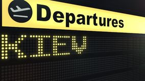 Flight to Kiev on international airport departures board. Travelling to Ukraine conceptual 3D rendering. Flight to Kiev on international airport departures board Stock Photography