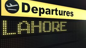 Flight to Lahore on international airport departures board. Travelling to Pakistan conceptual 3D rendering. Flight to Lahore on international airport departures Stock Photos