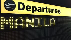 Flight to Manila on international airport departures board. Travelling to Philippines conceptual 3D rendering. Flight to Manila on international airport Royalty Free Stock Photo