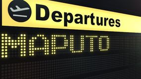 Flight to Maputo on international airport departures board. Travelling to Mozambique conceptual 3D rendering. Flight to Maputo on international airport Royalty Free Stock Image
