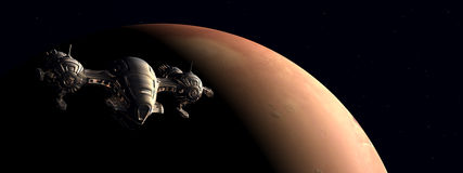 The flight to Mars. Computer generated 3D illustration with a spacecraft near the Mars Royalty Free Stock Photography