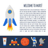 Flight to Mars concept. Vector concept with cute cartoon objects on Flight to Mars theme. Astronaut, Mars mountain, cosmic food, rover, planets Earth and Mars Royalty Free Stock Photography