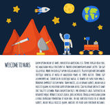 Flight to Mars concept. Vector concept with cute cartoon objects on Flight to Mars theme. Astronaut, Mars mountain, cosmic food, rover, planets Earth and Mars Stock Photo