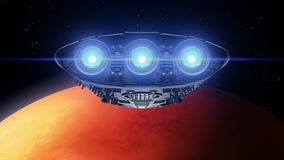 Alien spaceship is approaching Mars. Bright engines flashing, 3d animation. Texture of the Planet was created in the