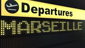 Flight to Marseille on international airport departures board. Travelling to France conceptual 3D rendering. Flight to Marseille on international airport Royalty Free Stock Photo