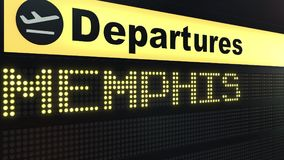 Flight to Memphis on international airport departures board. Travelling to the United States conceptual 3D rendering. Flight to Memphis on international airport Royalty Free Stock Photos