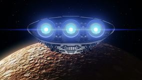 Alien spaceship is approaching Mercury. Bright engines flashing, 3d animation. Texture of the Planet was created in the