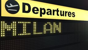 Flight to Milan on international airport departures board. Travelling to Italy conceptual 3D rendering. Flight to Milan on international airport departures board Royalty Free Stock Image