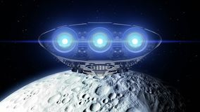 Alien spaceship is approaching Moon. Bright engines flashing, 3d animation. Texture of the Moon was created in the