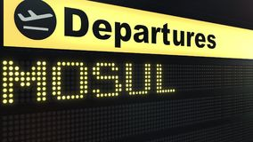 Flight to Mosul on international airport departures board. Travelling to Iraq conceptual 3D rendering. Flight to Mosul on international airport departures board Royalty Free Stock Images