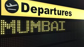 Flight to Mumbai  on international airport departures board. Travelling to India conceptual 3D rendering. Flight to Mumbai  on international airport departures Stock Image