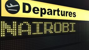Flight to Nairobi on international airport departures board. Travelling to Kenya conceptual 3D rendering. Flight to Nairobi on international airport departures Royalty Free Stock Images
