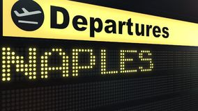 Flight to Naples on international airport departures board. Travelling to Italy conceptual 3D rendering. Flight to Naples on international airport departures Royalty Free Stock Photo