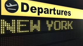 Flight to New York City on international airport departures board. Travelling to the United States conceptual 3D.  Royalty Free Stock Photo